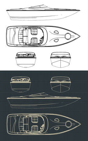 Stylized vector illustration of speed boat drawings Stock Illustratie