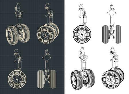 Stylized vector illustration of drawings of the front landing gear of a large aircraft