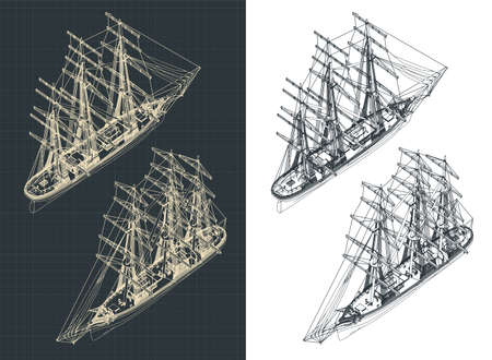 Stylized vector illustration of a large three-masted sailing ship isometric drawings with the sails down