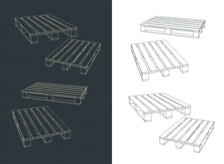 Stylized vector illustration of a Pallets drawings  イラスト・ベクター素材