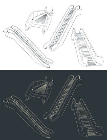 Stylized vector illustration of a escalator drawings
