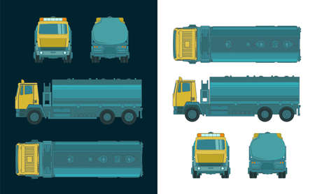Stylized vector illustration of a refueler truck color drawings