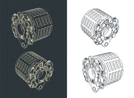 Stylized vector illustration of Aircraft brakes drawings