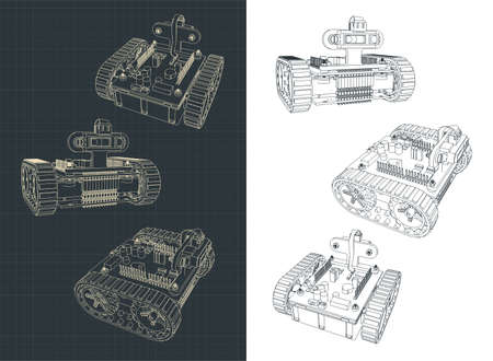 Stylized vector illustration of a Tracked Robot drawings