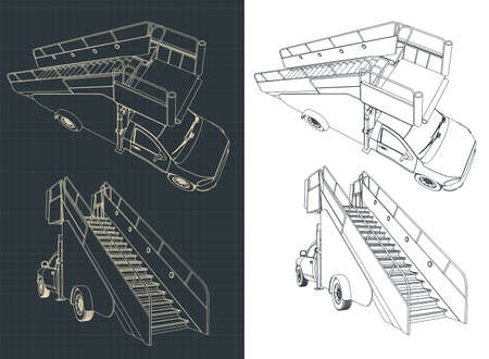 Stylized vector illustration of a Airport ladder car drawings
