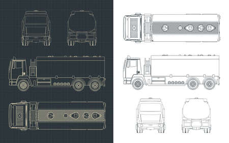 Stylized vector illustration of an Fuel Truck drawings