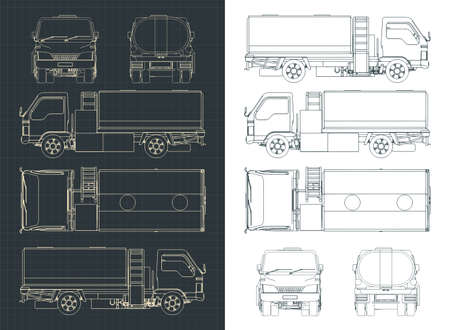 Stylized vector illustration of an Airport Fuel Truck drawings