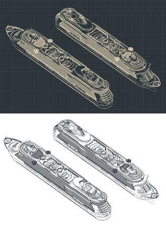 Stylized vector illustration of a large cruise ship isometric drawings Vektorgrafik
