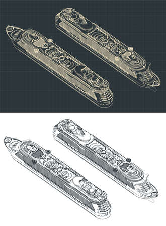 Stylized vector illustration of a large cruise ship isometric drawings  イラスト・ベクター素材
