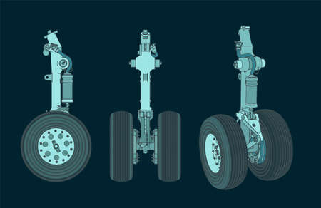 Stylized vector illustration of color drawings of the front landing gear of a large aircraft