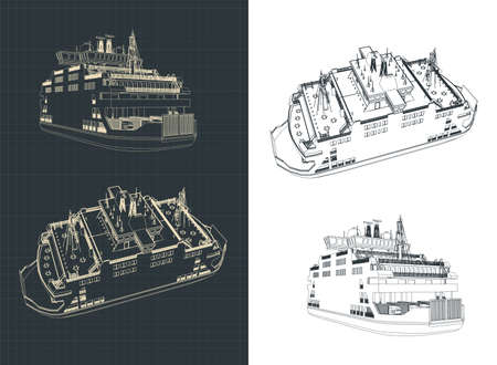 Stylized vector illustration of a ferry drawings