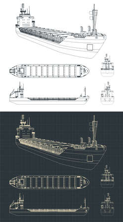 Stylized vector illustration of a dry cargo ship drawings
