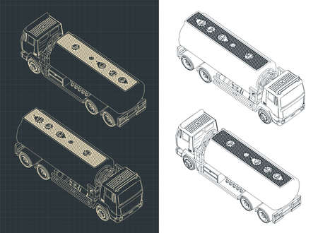 Stylized vector illustration of an Fuel Truck isometric drawings