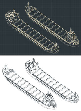 Stylized vector illustration of a dry cargo ship isometric drawings