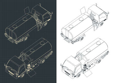 Stylized vector illustration of an Airport Fuel Truck isometric drawings