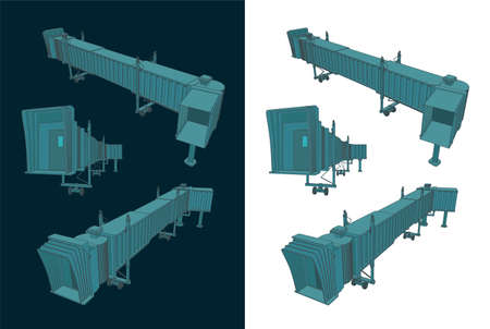 Stylized vector illustration of an airport telescopic gangway color drawings  イラスト・ベクター素材