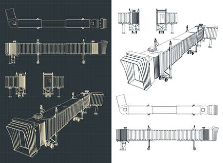Stylized vector illustration of an airport telescopic gangway drawings