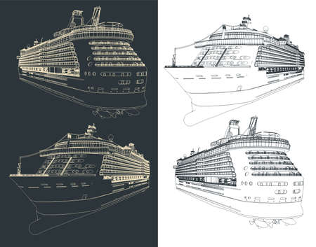 Stylized vector illustration of a large cruise ship drawings