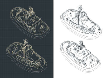 Stylized vector illustration of a Tugboat isometric drawings