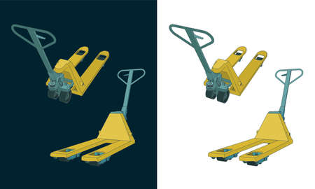 Stylized vector illustration of a Hand pallet truck color drawings  イラスト・ベクター素材