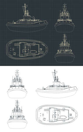 Stylized vector illustration of a Tugboat drawings  イラスト・ベクター素材