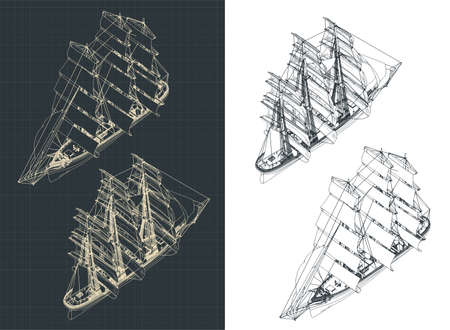 Stylized vector illustration of a large three-masted sailing ship isometric drawings