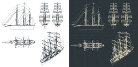 Stylized vector illustration of a drawing of a large three-masted sailboat, with the sails down