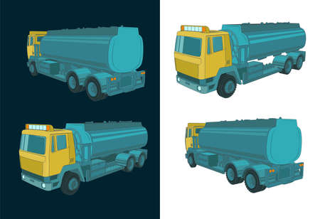 Stylized vector illustration of a refueler truck color illustrations