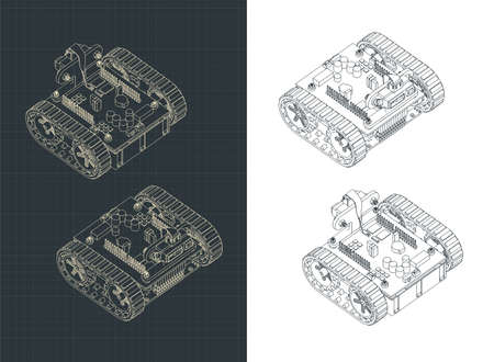 Stylized vector illustration of a Tracked Robot isometric drawings  イラスト・ベクター素材