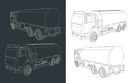Stylized vector illustration of a refueler truck drawings