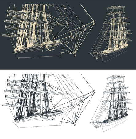Stylized vector illustration of a drawing of a large three-masted sailboat