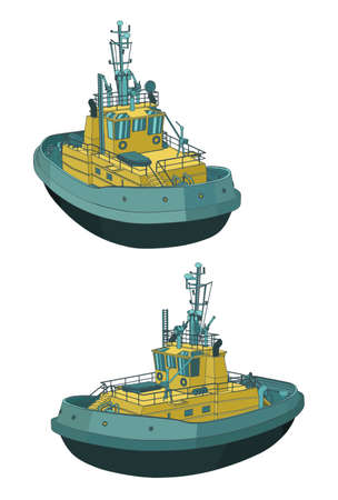 Stylized vector illustration of a Tugboat color drawings  イラスト・ベクター素材