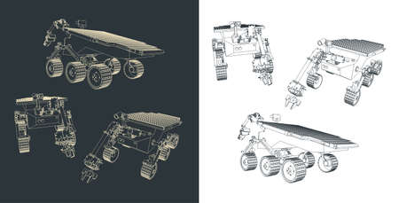 Stylized vector illustration of a mars rover drawings