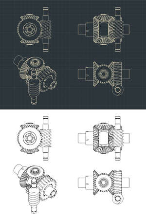 Stylized vector illustration of Differential gear system with worm gear drawings Ilustrace