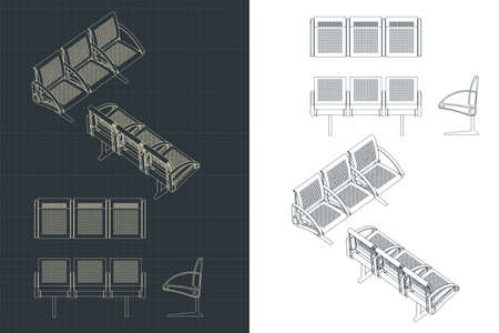Stylized vector illustration of drawings of airport seats Vettoriali