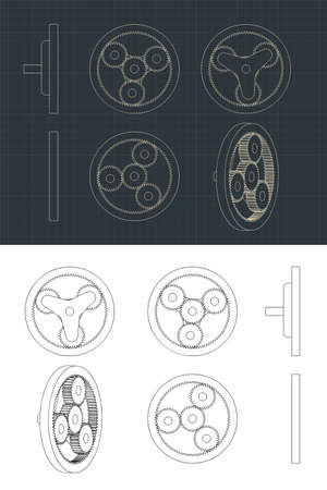 Stylized vector illustration of an Planetary Gears Drawings