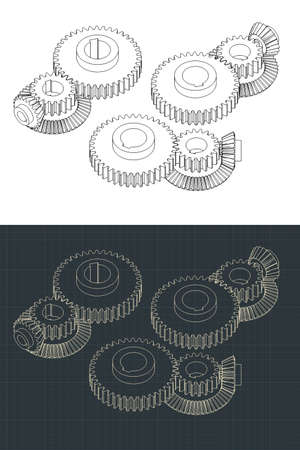 Stylized vector illustrations of different types of Gears Vector Illustration