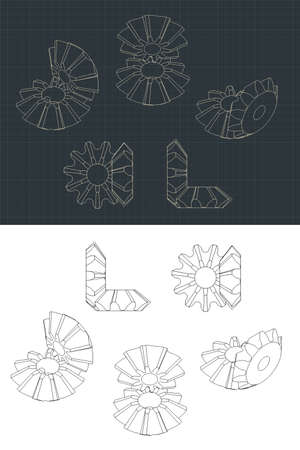 Stylized vector illustration of an Bevel Gear Module Drawings Vector Illustration