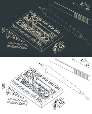 Stylized vector illustration of a set of electronics components for education of electrical engineers and electronics enthusiasts 向量圖像