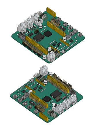 Vector illustration of an Arduino RoMeo V2 robotics controller