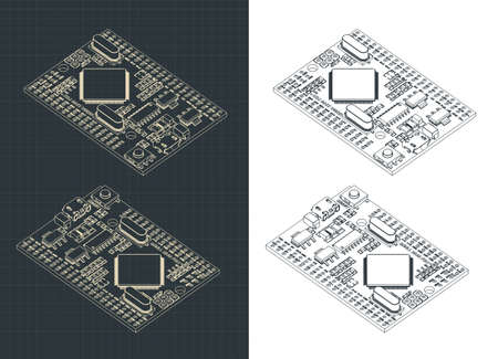 Vector illustration of an Arduino Mega Pro Microcontroller color drawings 矢量图像