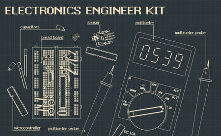 Stylized vector illustration of a Electronics component kit for electronics engineers and electronics enthusiasts
