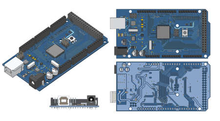 Vector illustration of an Arduino Mega Microcontroller color drawings 免版税图像