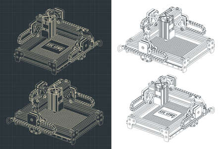 Stylized vector illustration of a CNC laser cutting and engraving machine