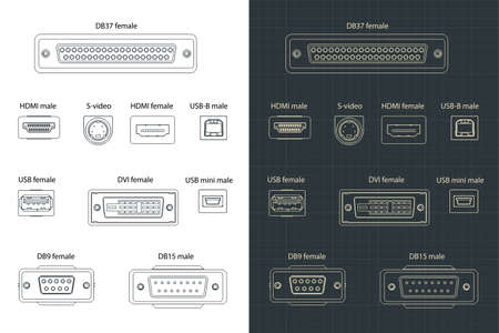Stylized vector illustration of a Interface Plug-and-sockets drawing mini set
