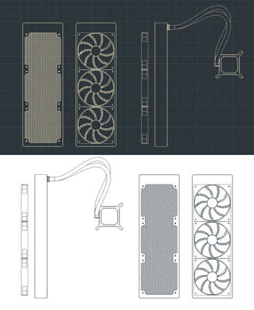 Stylized vector illustration of a liquid cooling system drawings for computer