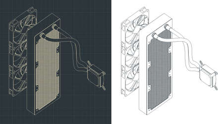 Stylized vector illustration of a liquid cooling system isometric drawings for computer