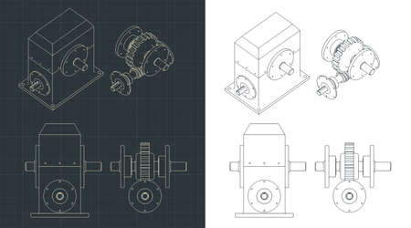 Stylized vector illustration of drawings of the speed reducer