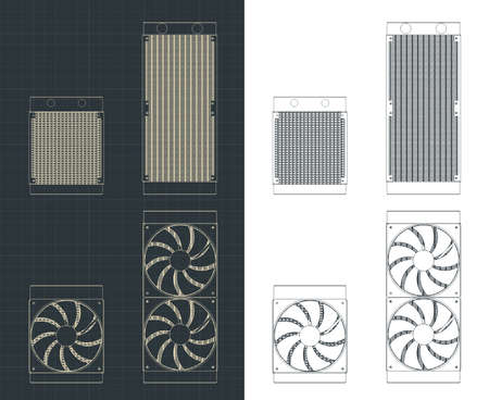 Stylized vector illustrations of drawings of water cooling radiators for processors and video cards of different sizes and types