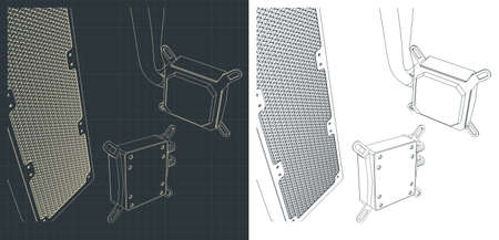Vector illustration of a liquid cooling system, radiator and pump close up